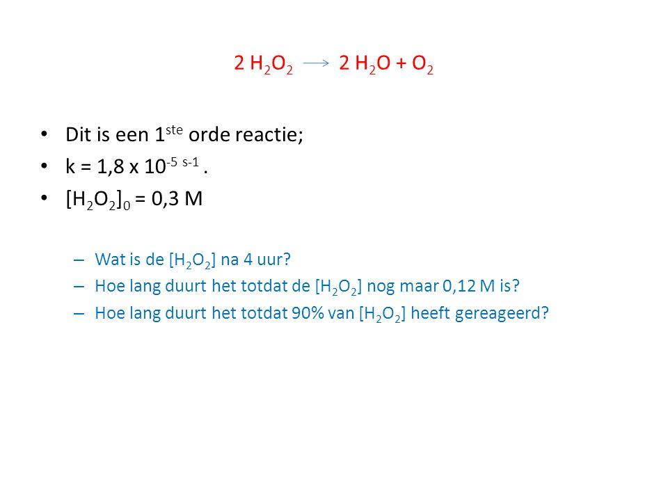 Dit is een 1ste orde reactie; k = 1,8 x 10-5 s-1 . [H2O2]0 = 0,3 M